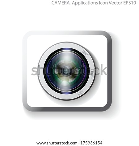 camera lens application vector, webcam lens sign icon - stock vector
