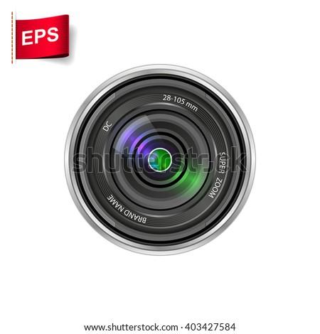 camera lens icon, vector camera shutter, isolated camera lens - stock vector