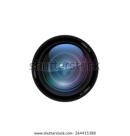 Camera lens on white background. Vector