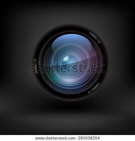 Camera lens set on white background. Vector