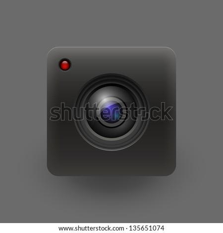Camera lens. Vector illustration. Eps 10 - stock vector