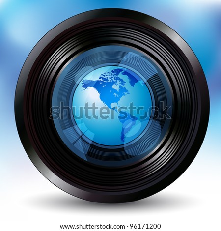 camera lens with a world globe - stock vector