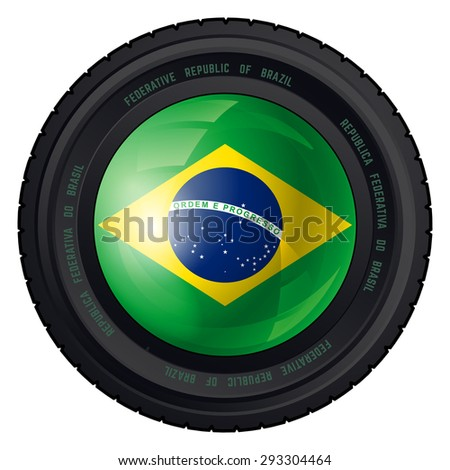 Camera Lens with Federative Republic of Brazil Flag. Vector design. - stock vector
