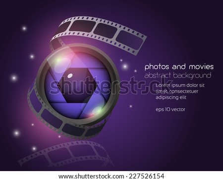 camera lens with film strip abstract background - stock vector