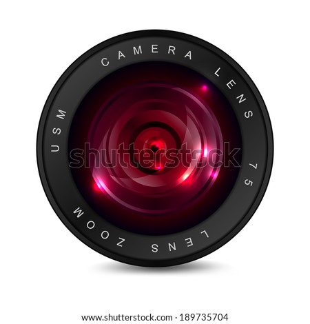 Camera lens with red glass. Object on a white background. EPS-10. Gradient mesh and transparency used. - stock vector