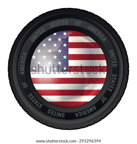 Camera Lens with United States of America Flag. Vector design. - stock vector