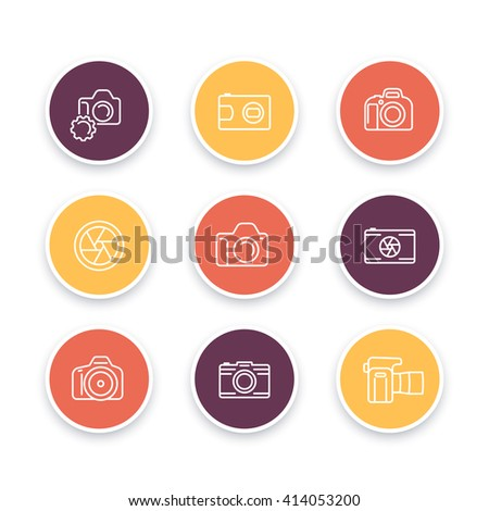 camera line icons, dslr, diaphragm, photography, camera pictogram, color round linear icon set, vector illustration - stock vector