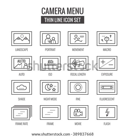 Camera menu and function Icons. flat thin line design. vector eps10 - stock vector