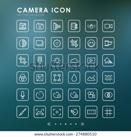 camera minimal line icons with blur background - stock vector