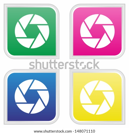 Camera objective - Colorful button set - stock vector
