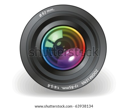 Camera objective vector - stock vector