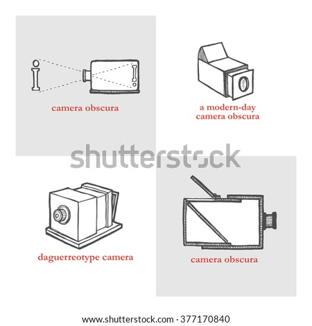 Camera Obscura. Vector illustration for a poster, flyer, website icons. Set of retro historical camera. Vintage style, hand drawn pen and ink - stock vector