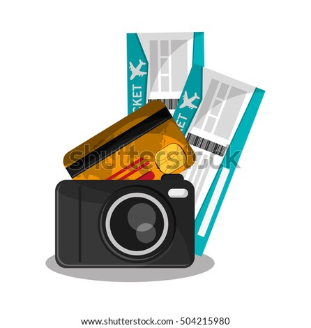 Camera of travel and tourism concept