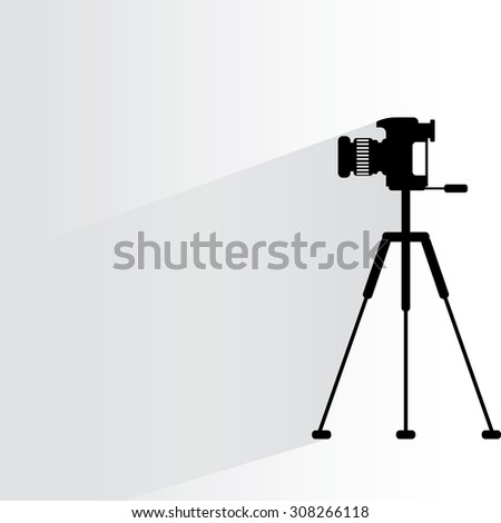 camera on a tripod on white background, flat and drop shadow theme