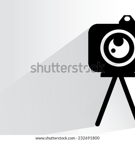 camera on white background, flat and shadow theme - stock vector