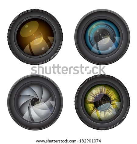 camera photo lens - stock vector