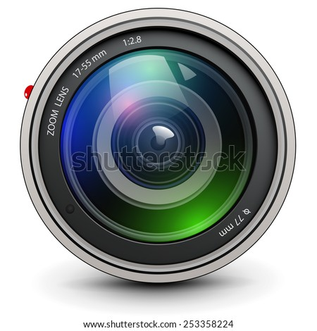Camera photo lens, vector. - stock vector