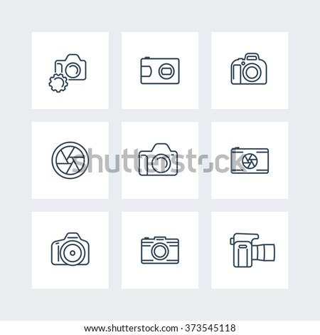 camera, photography line icons, dslr, aperture icons on squares, vector illustration - stock vector