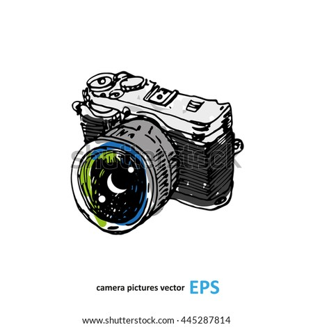 Camera photography studio vector illustration. - stock vector
