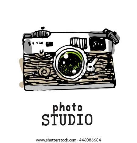 Camera photography studio vector illustration logo with text.  - stock vector