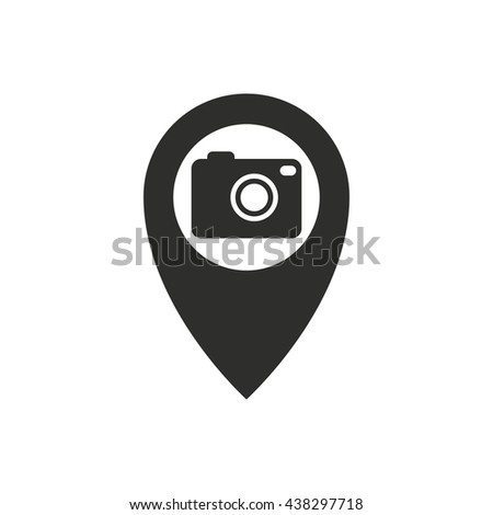 Camera pin vector icon. Illustration isolated on white background for graphic and web design. - stock vector