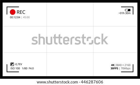 Camera screen 16 x 9 full hd 4 k stock vector 446287606 shutterstock camera screen with 16x9 full hd and 4k video grid shooting settings like shooter and ccuart Images