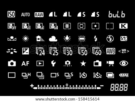 Camera settings symbols - stock vector