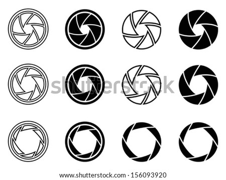 Camera shutter aperture icons - stock vector