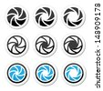 Camera shutter aperture vector icons set  - stock vector