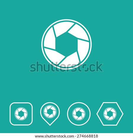 Camera Shutter Icon on Flat UI Colors with Different Shapes. Eps-10. - stock vector