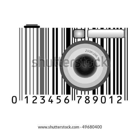camera stylized with bar-code