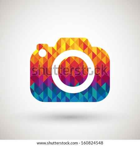 camera symbol with colorful diamond, vector illustration. - stock vector