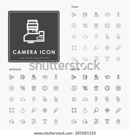 camera thin, medium and bold minimal line icons - stock vector