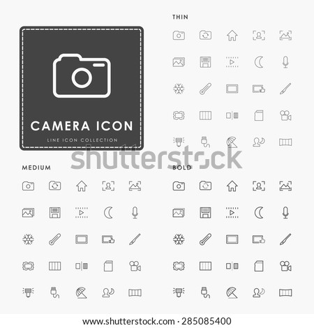 camera thin, medium and bold outline icons - stock vector