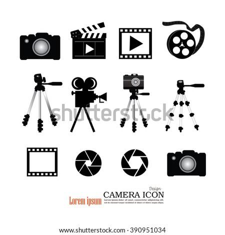 camera tripod film and accessories icon.Video camera and film icon. Vector illustration. - stock vector