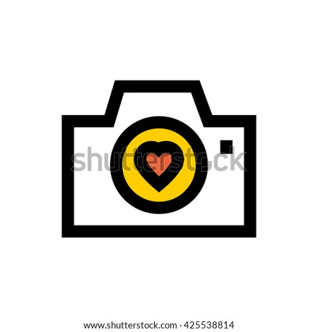 Camera, valentine's day, love line icon. Pixel perfect fully editable vector icon suitable for websites, info graphics and print media. - stock vector