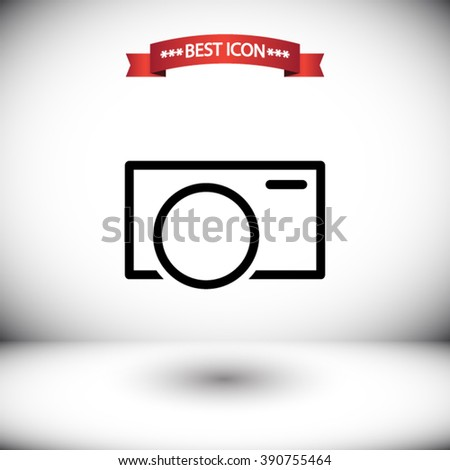 Camera vector icon. Camera icon under the red ribbon. Shadow under Camera vector icons. Camera icon on gray background. Camera icon on the background of the room. - stock vector