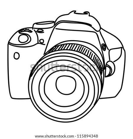 Camera vector icon illustration isolated on white background. - stock vector