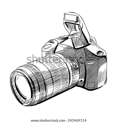 Camera - vector illustration/ Pencil drawing style