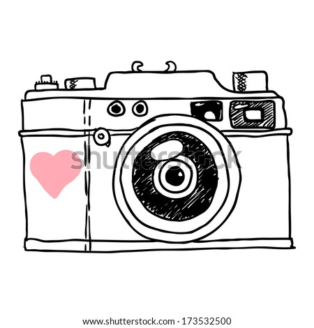camera. vector sketch - stock vector