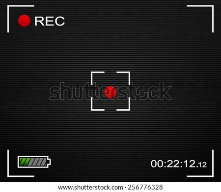 Camera Viewfinder Background. Camera Background and UI elements: Cross-hair, Rec label, battery level and time indicator. With transparent elements. - stock vector