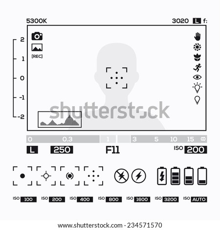 camera viewfinder display - stock vector