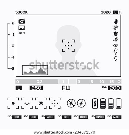 camera viewfinder display - stock vector