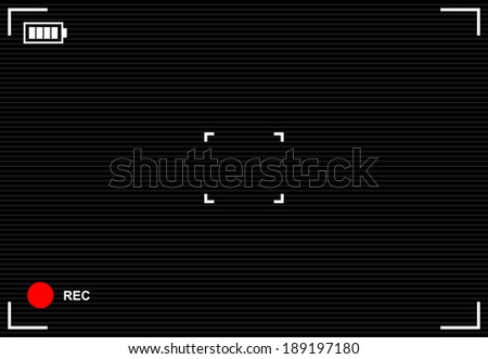 Camera viewfinder rec background - stock vector
