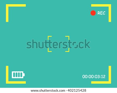 Camera Viewfinder Rec background. Screen Video on a green background. Vector illustration of a plane. - stock vector
