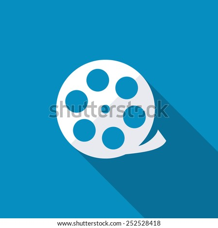 Camera web icon in circle. Flat design style with long shadow - stock vector