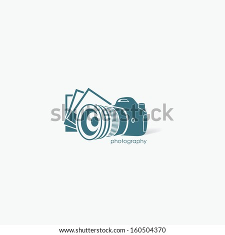 Camera with photos - vector illustration - stock vector