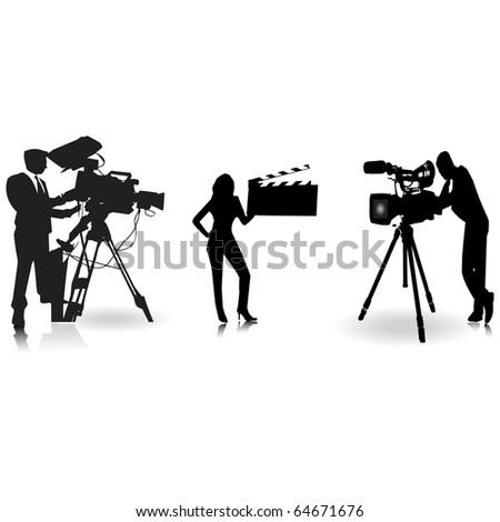Cameraman and film silhouette.Vector - stock vector
