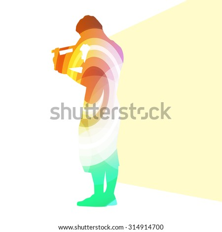 Cameraman with video camera silhouette illustration vector background colorful concept made of transparent curved shapes - stock vector