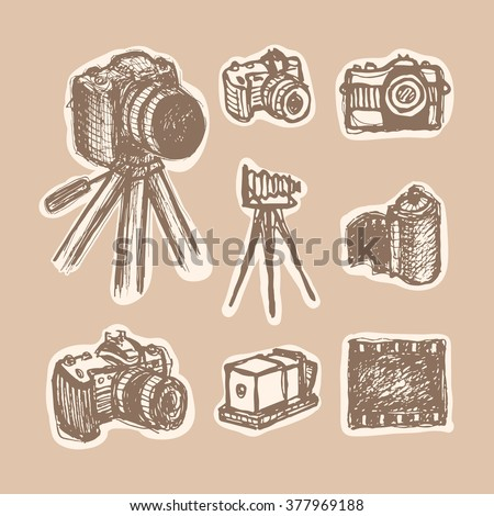 Cameras sketch cet. Sketchy illustrations history of photo camera. Vector illustration for a poster, flyer, website icon. Retro historical camera. Vintage style, hand drawn pen and ink - stock vector